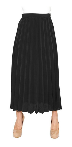 Falda Larga Tableada Casual/formal Negro Para Mujer