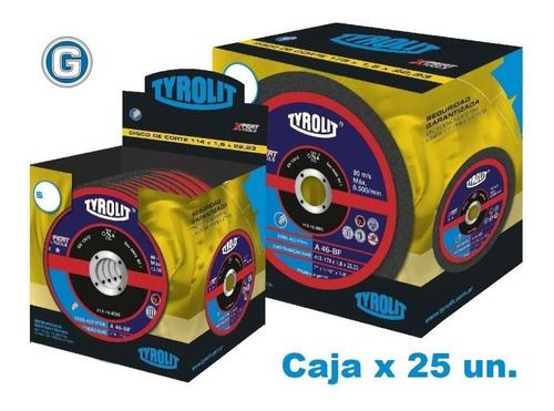 Disco Corte Tyrolit  Xpert 114 X 1,0 Mm Caja X 25 Un Gramabi Amoladora 4 1/2 Fino 115x1 Hierro 114x1 Metal Inoxidable