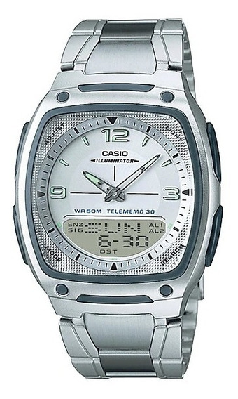 Relógio Masculino Casio Prata Aw-81d-7avdf Anadigi + Nf