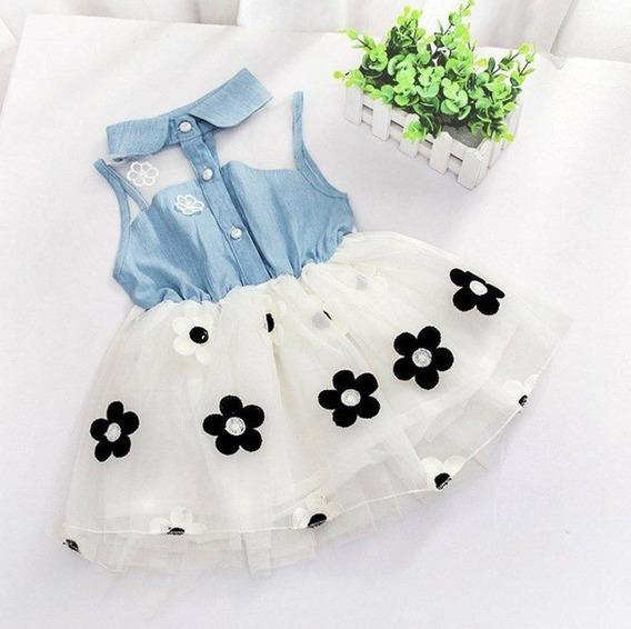 Vestido Infantil Bebe Menina Jeans Brim Tule Cor Vermelho Bo