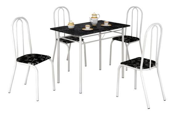 Conjunto Mesa Com 4 Cadeiras Para Cozinha Tubular Craqueada