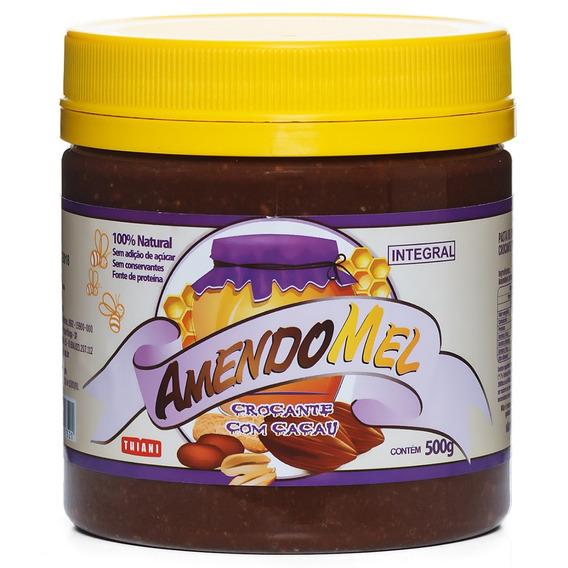 6 Pasta De Amendoim Amendomel 500g Crocante Cacau S/ Açúcar