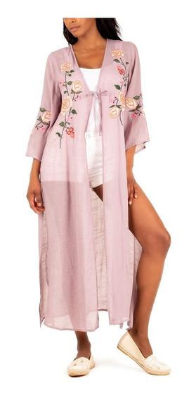 Maxi Kimono Floral Violeta - En Creme