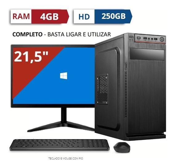 Kit Cpu Core I5 Ram 4gb Hd250gb Novo Com Tela Gamer