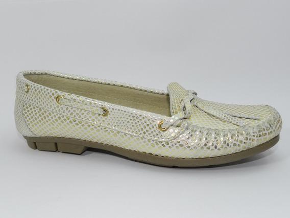 Zapato Mocasín Dama Cuero Kaprise 1026 Platino