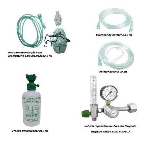 Kit Válvula Oxigênio Com Fluxômetro Inalação Domiciliar