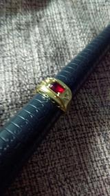 Anel De Formatura Pedra Vermelha Banhado A Ouro 18k