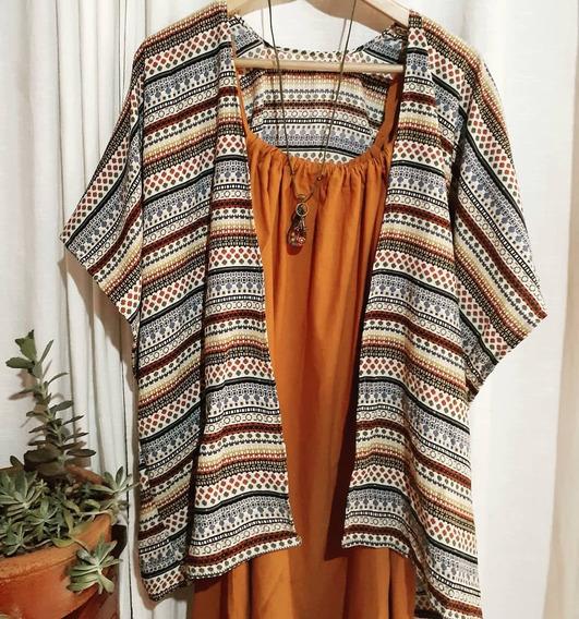 Kimono Feminino Preto Ou Estampado Franja Crochê Plus Size