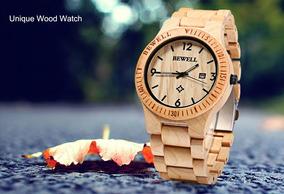 Bewell Zs-relógio Com Pulseira De Madeira Unissex + Brinde
