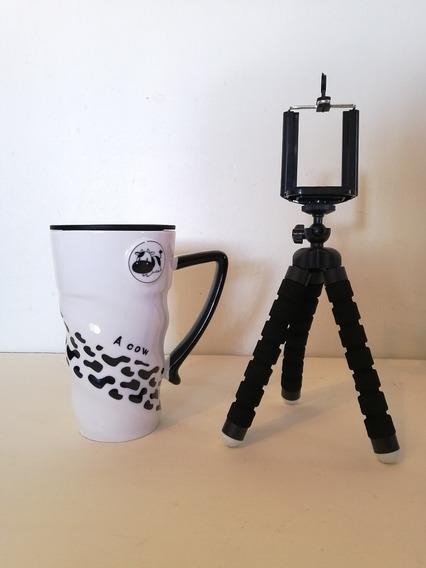 Taza De Cerámica Diseño Vaca Y Tripie Para Celular