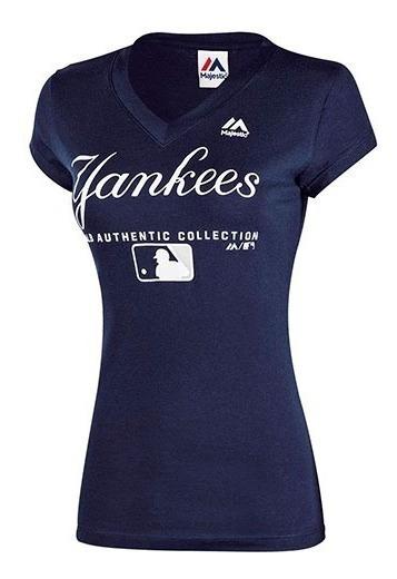 Playera Beisbol Dama Yankees Ny Majestic M2854506nk Azul T5
