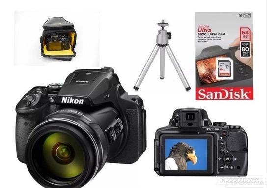 Câmera Coolpix P900 Nikon + Bolsa + Tripé + 64gb