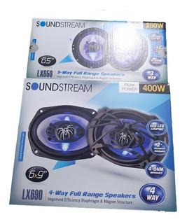 Paquete 4 Bocinas 6x9 Y 6.5 Soundstream Led Lx690 Y Lx650