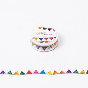 Washi Tape Fita Decorativa Bandeiras Coloridas