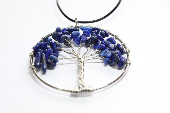 Collar De Lapislazuli Cuarzo Natural Arbol De Vida- Sabiduri