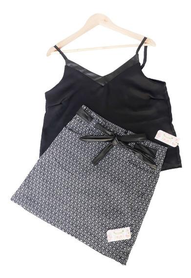 Conjuntos Femininos Camiseta E Saia Estampado Blusa Feminina