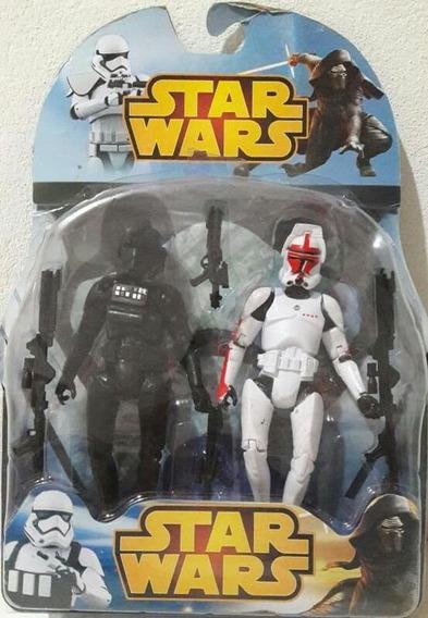 2 Bonecos Star Wars Darthvader E Stormtrooper - Colecionável