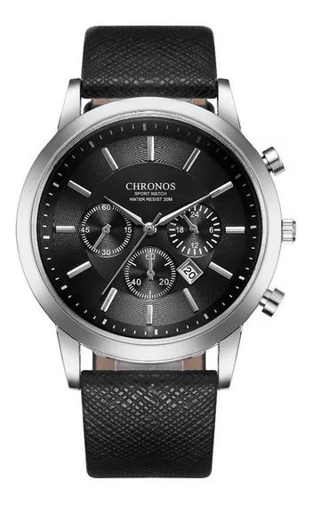 Reloj Chronos Caballero Análogo Correa Vinipiel Fechador