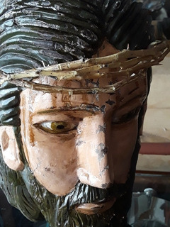 Arte Sacro Antiguo. Cabeza De Cristo Madera Con Estuco