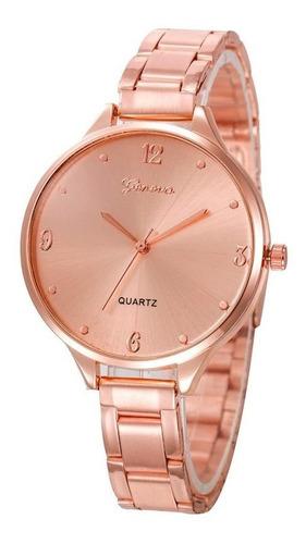 Relógio Pulseira Aço Inoxidável Feminino Rose Gold Luxo