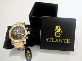 Relogio Atlantis Masculino Luxo Modelo A3361 Dourado