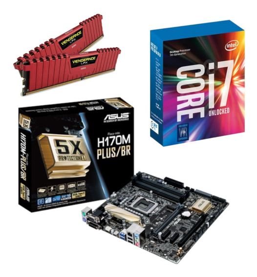 Kit Intel I7 7700k + Asus H170m Plus Br + Vg 16gb 2400