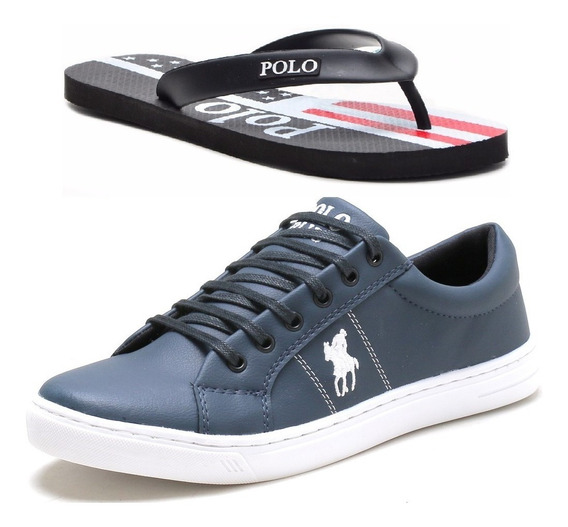 Kit Sapatenis Tenis Casual Polo Plus +chinelo