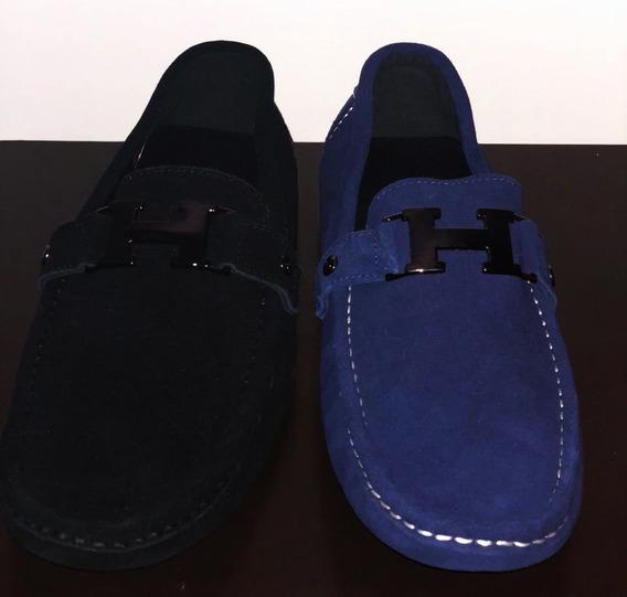 Zapatos Mocasín Gamuza Letra H Negro Y Azul