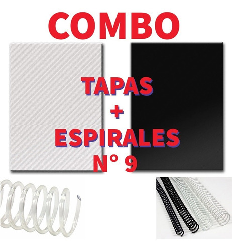 Combo 50 Espirales 9 Mm + Tapas A4 / 50 Negras + 50 Transp