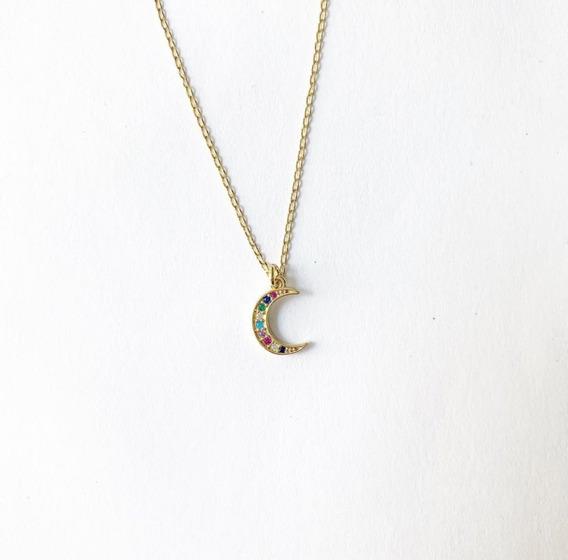 Collar Luna De Zirconia De Colores Chapa De Oro 18k