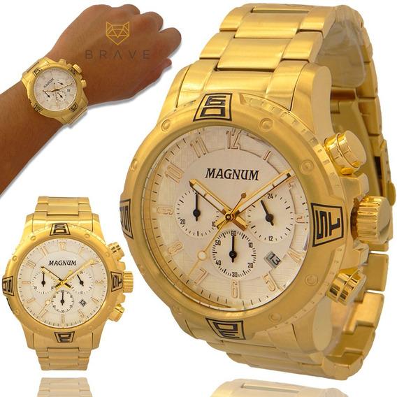 Relógio Masculino Dourado Magnum Ouro 18k 2 Anos De Garantia