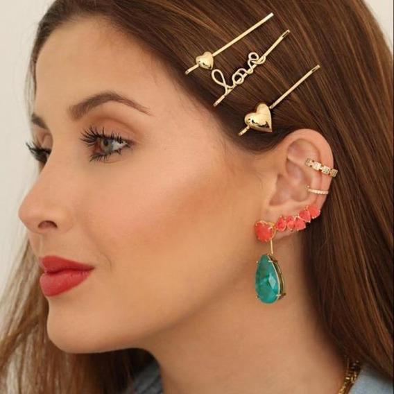 Brinco Ear Cuff Feminino Coral Rosa Dourado Fusion Premium