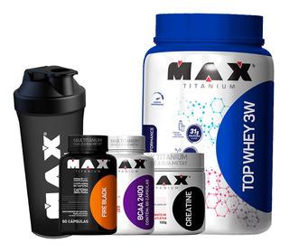 Kit Definição Whey 3w Bcaa Creatina Termogênico Max Titanium