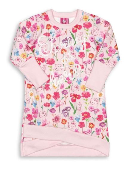 Vestido Infantil Manga Longa Hello Kitty