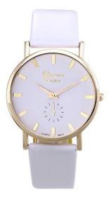 Relógio De Pulso Feminino Geneva Branco Pulseira De Couro Pu
