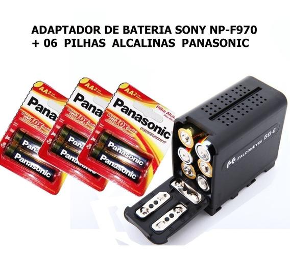 Adaptador Bateria Sony Np-f970 + 6 Pilhas Aa