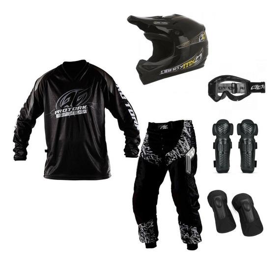 Kit Conjunto Motocross Calça + Camisa + Capacete 5 Itens