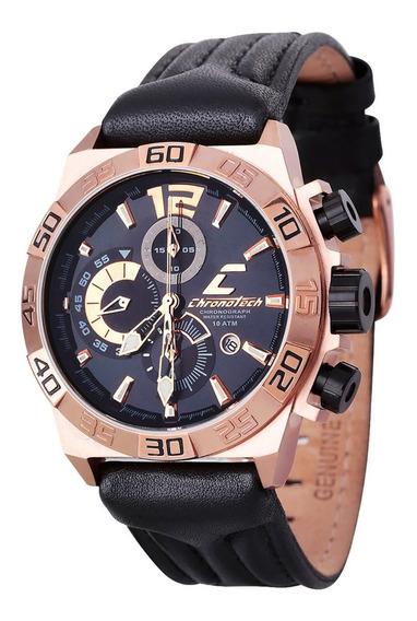 Relógio De Pulso Chronotech Active - Aço Dourado/couro Preto