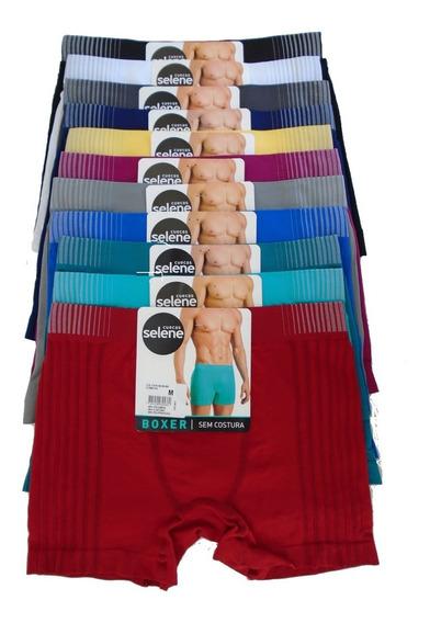 Boxer Selene Original Sem Costura Kit Com 10 Cuecas 1ª Linha