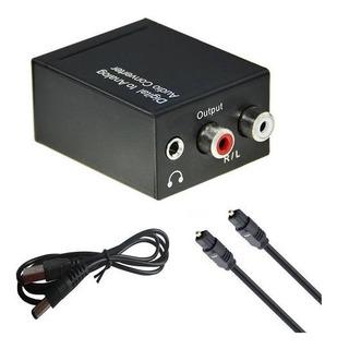 Conversor Audio Digital Fibra Optica A Rca O Auricular 3,5mm