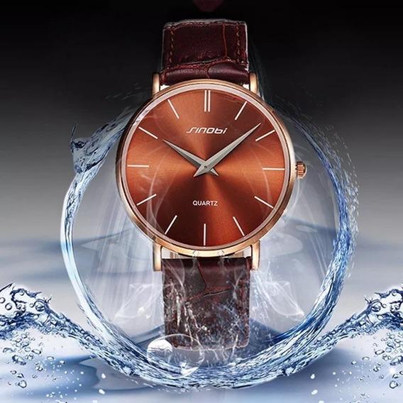 Relógio Feminino Especial Slim Pulseira Em Couro Sinobi Luxo