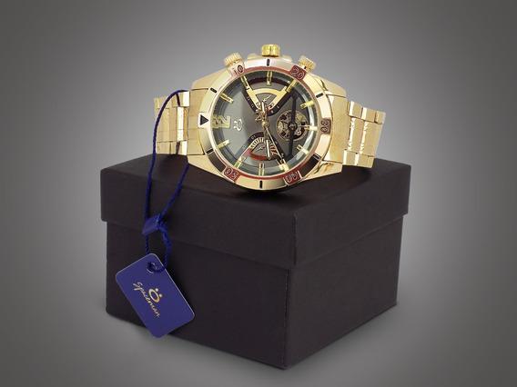Relógio Masculino Orizom Dourado + Caixa Original Resistente