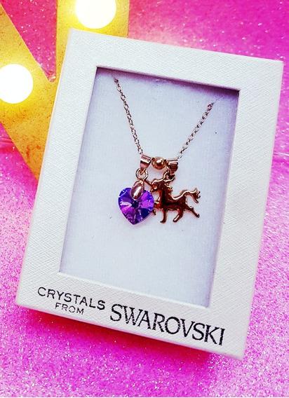 Unicornio En Acero Inox. Con Swarovski Cristal