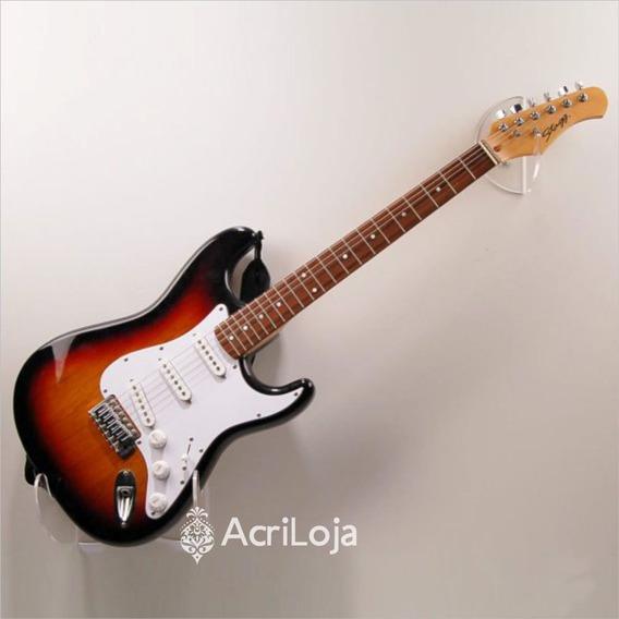 Suporte Guitarra De Parede Acrílico Para Loja Casa Estúdio