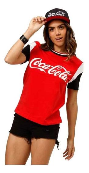 Camiseta Feminina Manga Curta Estampada Logo Coca-cola Jeans 343202130