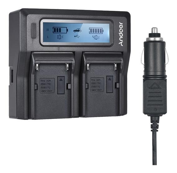 Andoer Np-f970 Dual Channel Camera Digital Carregador De