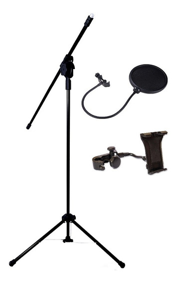 Pedestal P/ Microfone C/ Pop Filter + Suporte De Celular Tab