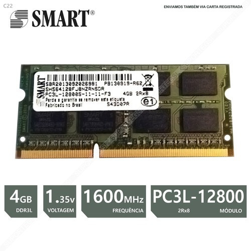Memoria Notebook 4gb Ddr3l Pc3l 12800 1600 2rx8 1.35v