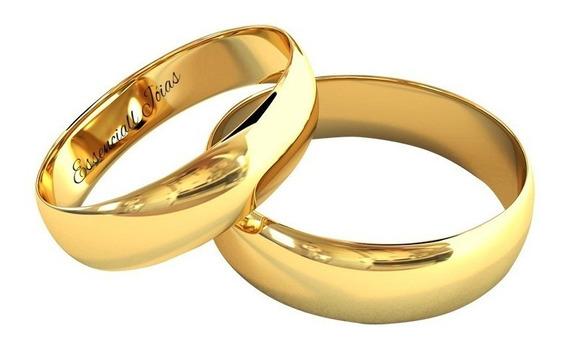 Par Alianças Casamento 5 Mm 8 Gr Ouro 18 Klts Anatômicas