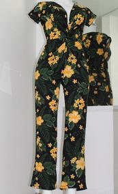 Elegante Palazzo Jumpsuit Estampado Floral Colores Primavera